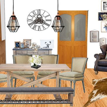 An interior design of a living room: Dining corner
