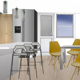 Dining & kitchen of open plan house design in London
