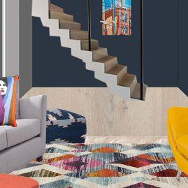 Living room of open plan house design in London
